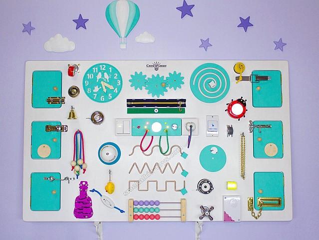 бизиборд для детского сада, развивающий стенд для детей