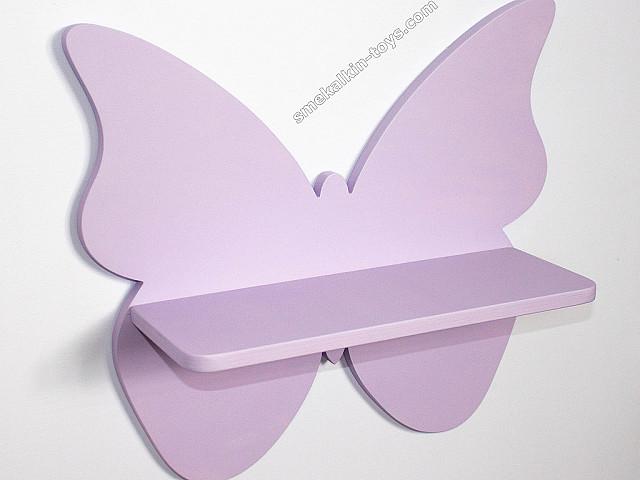 детская полка Бабочка, полка в виде бабочки, деревянная полка бабочка