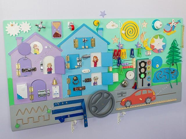 Большой тематический бизиборд Город Смекалкин, купить бизиборд, бизиборд для детского сада, игровой комнаты
