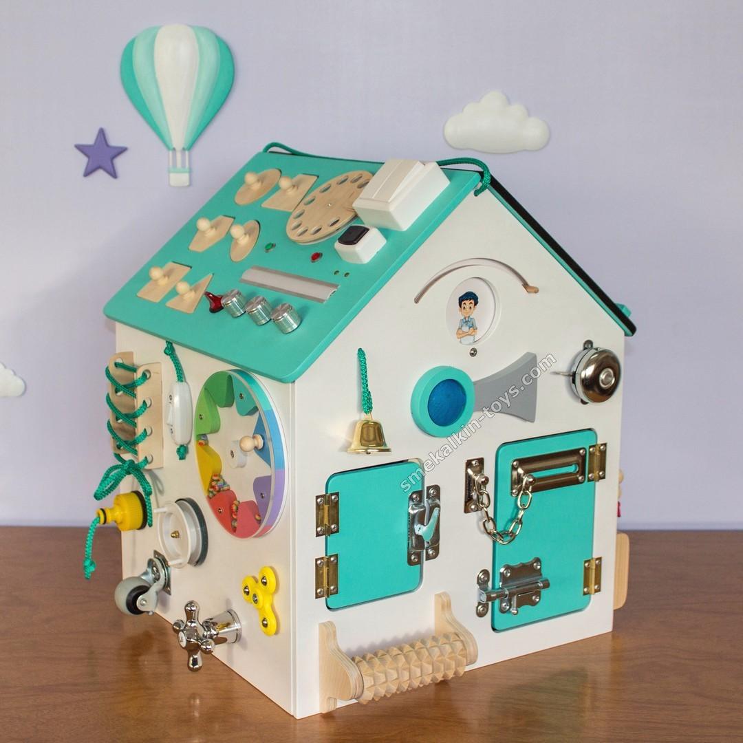 развивающий домик бизиборд, бизиборд смекалкин, бизидомик смекалкин, бизидом, бизи дом, бизи дом для детей